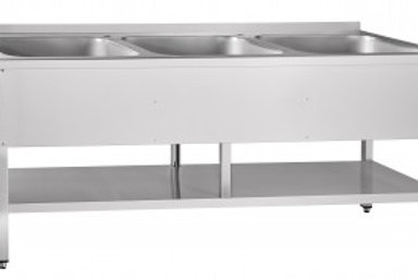 Цельнотянутая ванна ВМП-7-3-6РН предназначена для мойки посуды на предприятии об