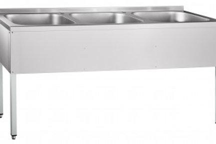Ванна моечная трехсекционная ВМП-6-3-5РН (с полкой, вся нерж.)