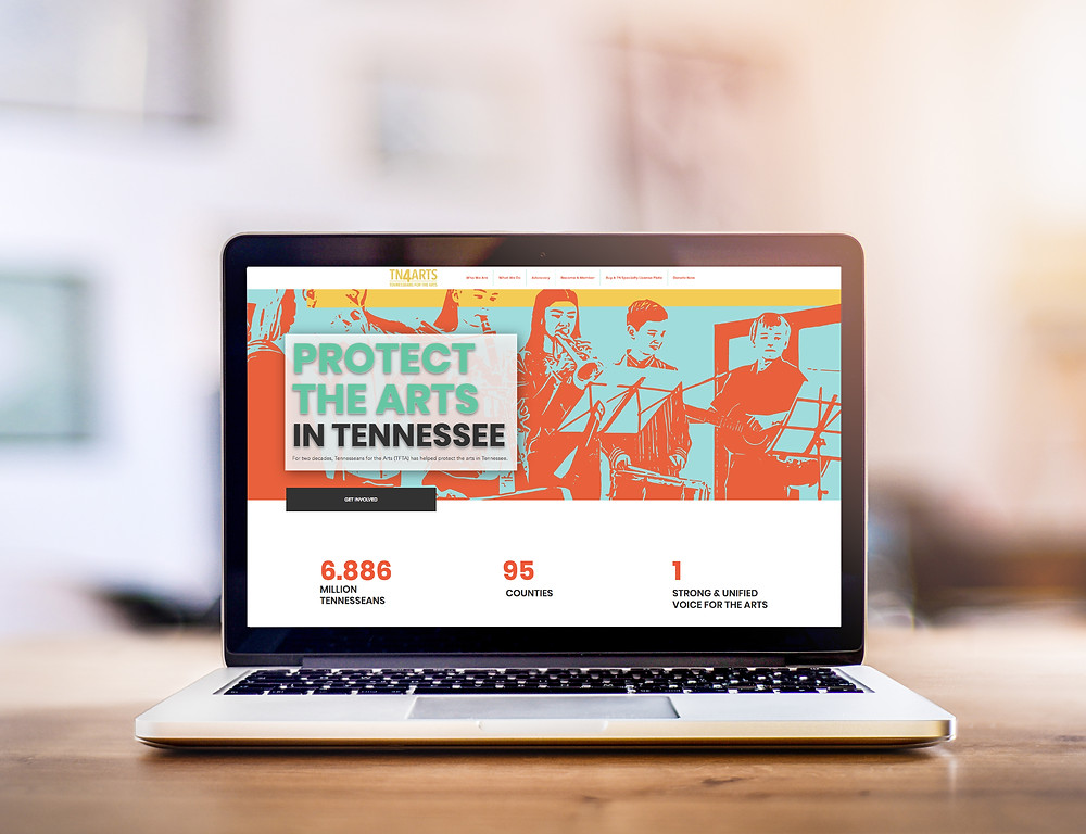 Computer view of the new website for Tennesseans For the Arts premiered at Arts Advocacy Day 2021.
