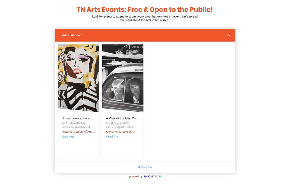 Computer view of the TN Arts Calendar for Tennesseans For the Arts