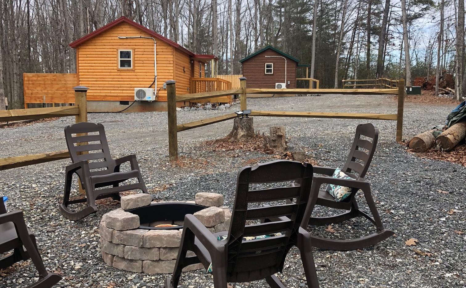 Communal Fire Pit Opposite Lazy Bear Cabin