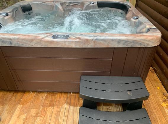 Pine Wood Hot Tub on Back Deck