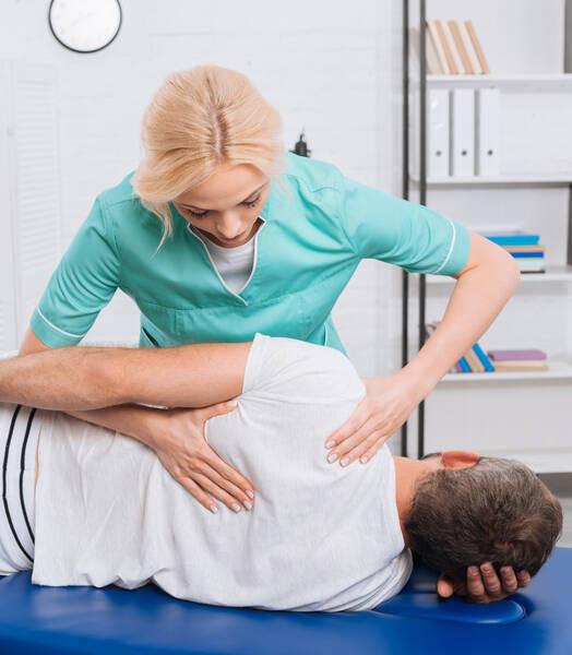 chiropractic adjustment on patient