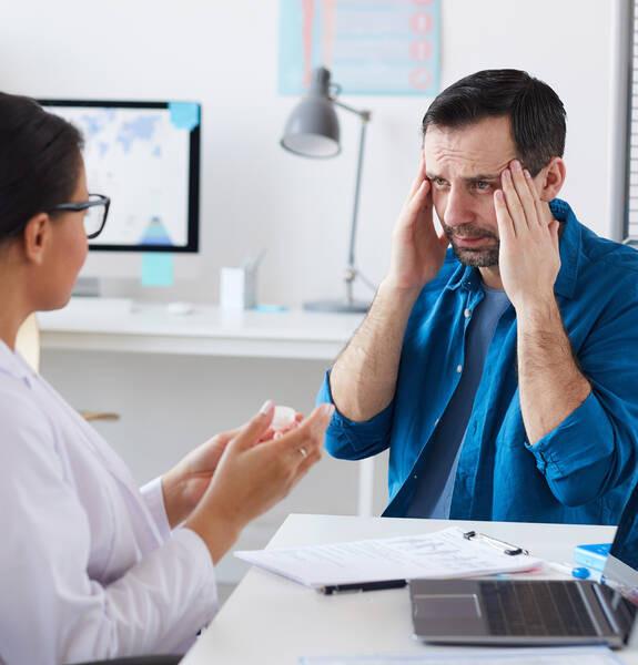 patient complaining about headache
