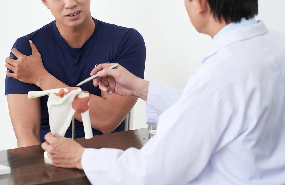 complaining about shoulder pain