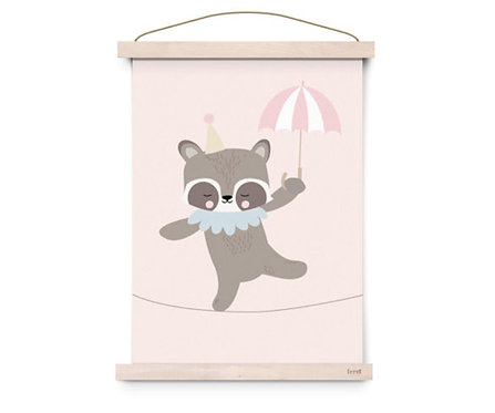 Poster A3 Circus Racoon Rope Dancer