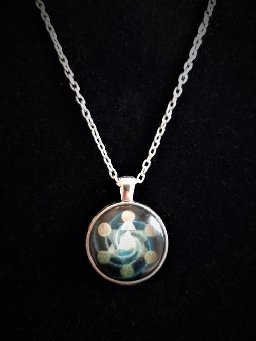 Metatron S Cube Silver Glass Cabochon Pendant Necklace