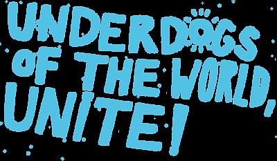 underdogs of the world unite, pictogramm, außenseiter, blue, cyan
