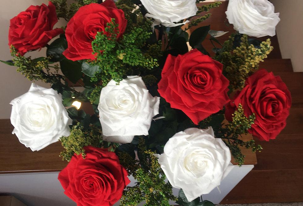 12 Rosas Premium Con Solidago