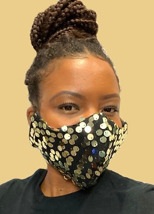 ZL Black N Gold Sequin Face Mask