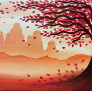 red mountain trees