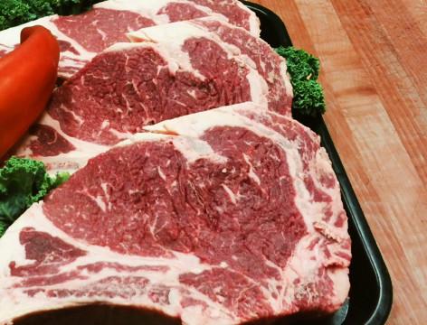 Aged rib eye steaks