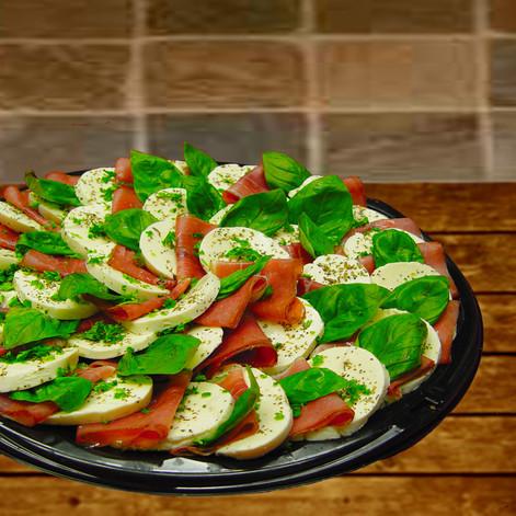 mozz & tomato with prosciutto caprese