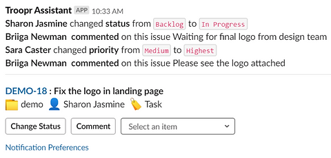 Noise free, zero spam actionable Jira project notifications in Slack | Jira Slack Integration by Troopr