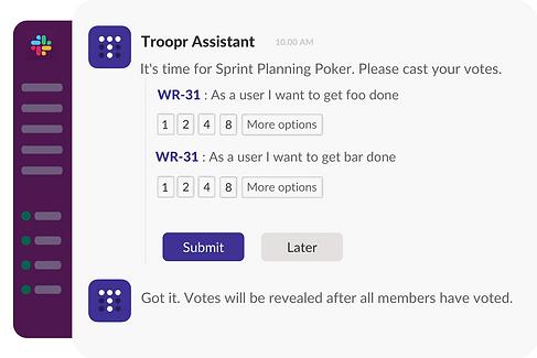 Slack online planning poker report