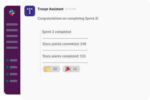 Celebrate Scrum project milestones with team in Slack
