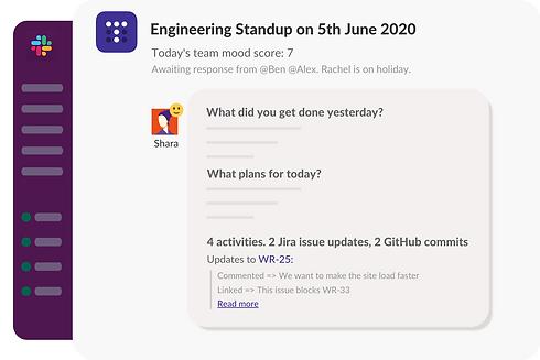 Slack standup bot report