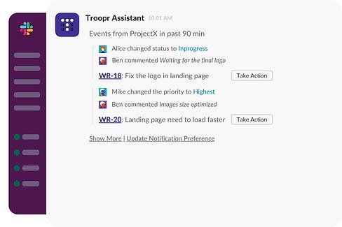 Troopr notification delivery in Slack