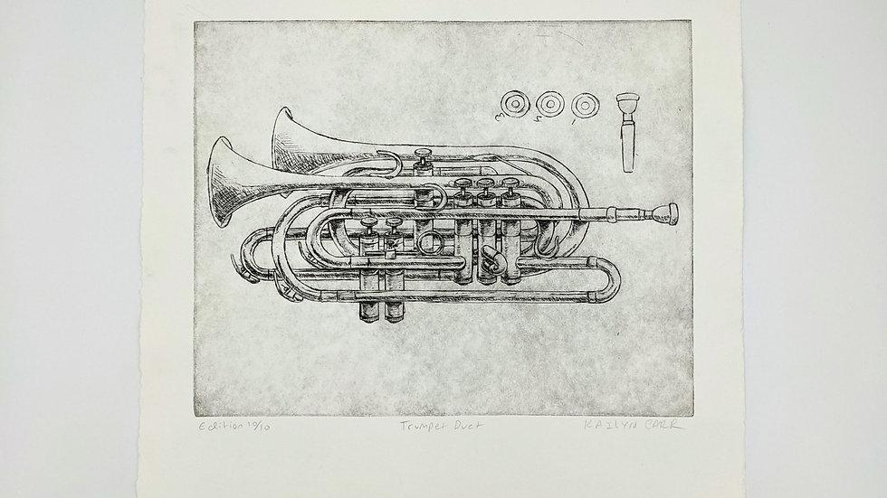 Trumpet Duet, intaglio print