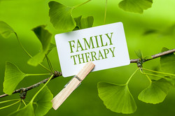 The word Family Therapy in a Gingko Tree