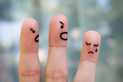 Finger art of family during quarrel.jpgThe concept of parents scolded her daughter, she was crying