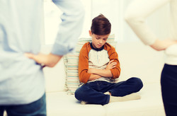 people, misbehavior, family and relations concept - close up of upset or feeling guilty boy and pare
