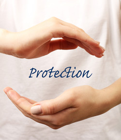 Female hands with word protection on light background