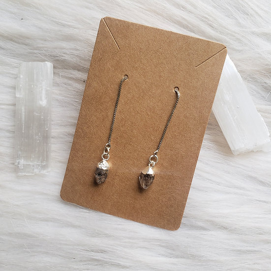 Herkimer Diamond  Threader Earrings