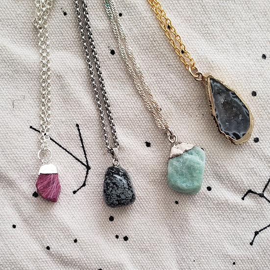Crystal and Geode Necklaces