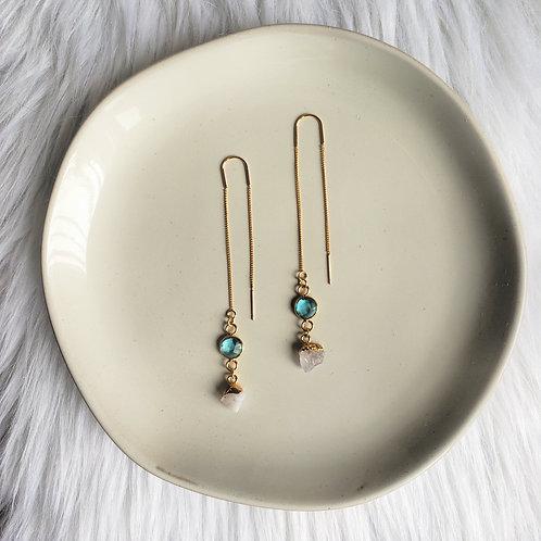 Gold Moonstone and Topaz Earrings