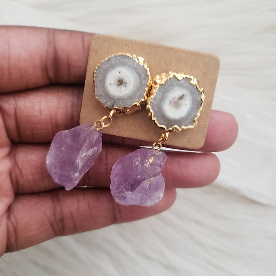 Agate Amethyst Drop Earrings