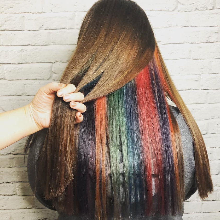 long brunette hair with rainbow colours