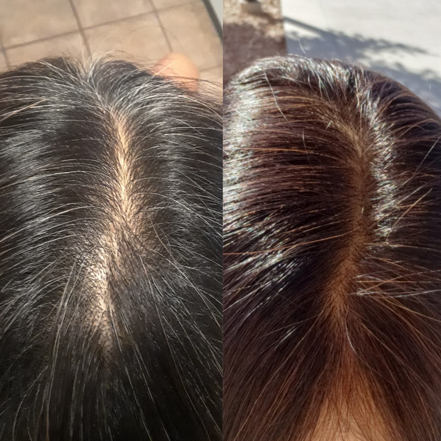 Henna on dark hair