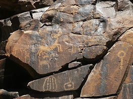 Petroglyph rock art seen in Little Petroglyph Canyon near Ridgecrest, California