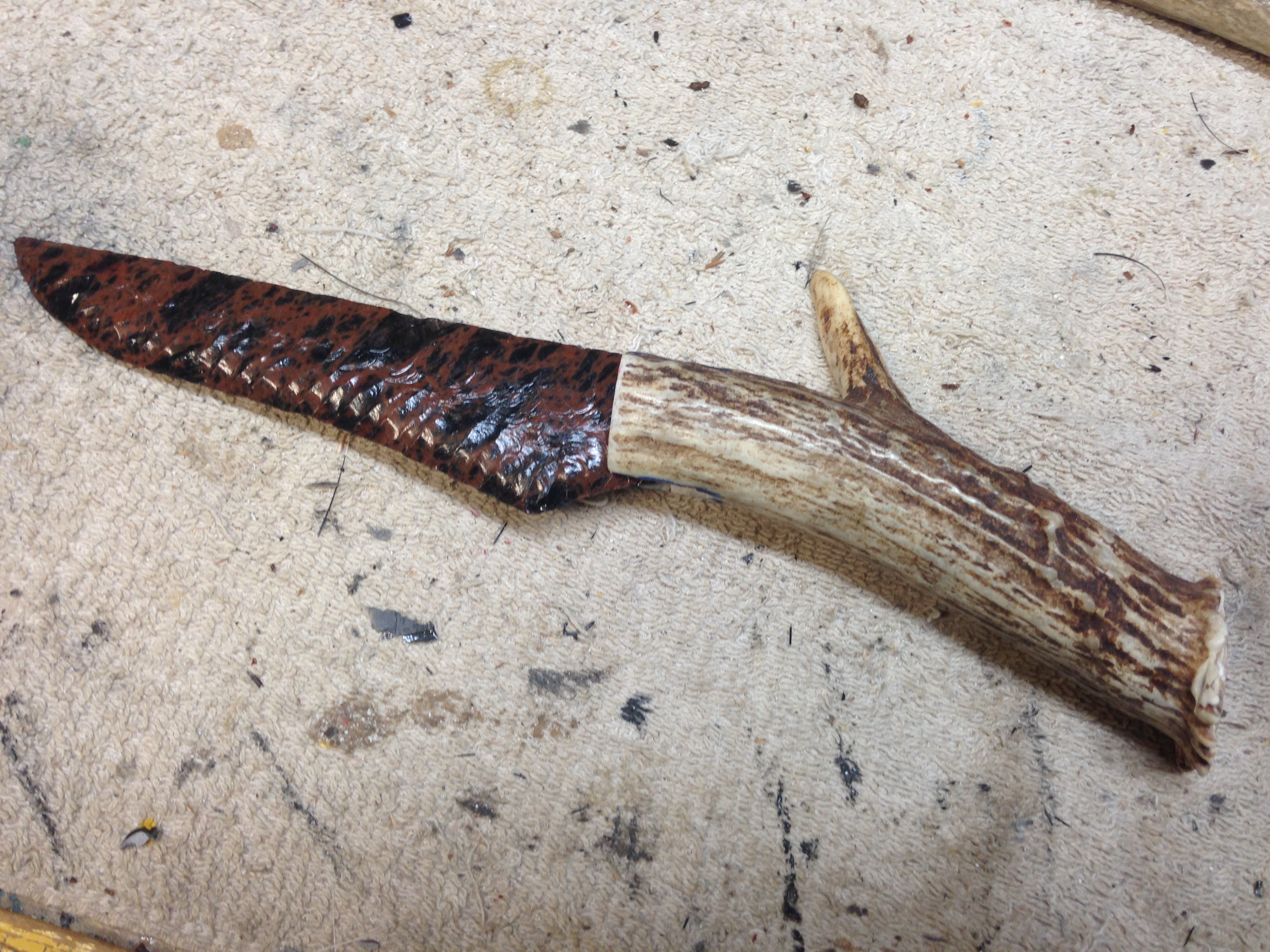 Obsidian blade and antler handle