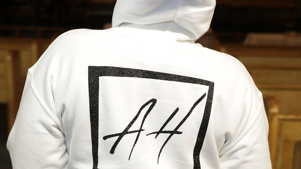 White Hoodie with Black Logo
