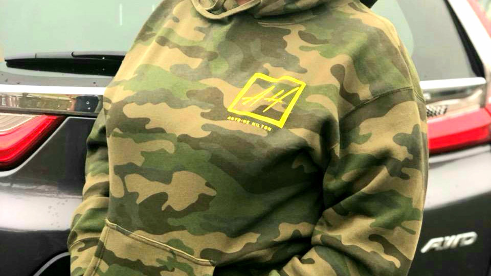 Camouflage  Hoodie with Gold Logo