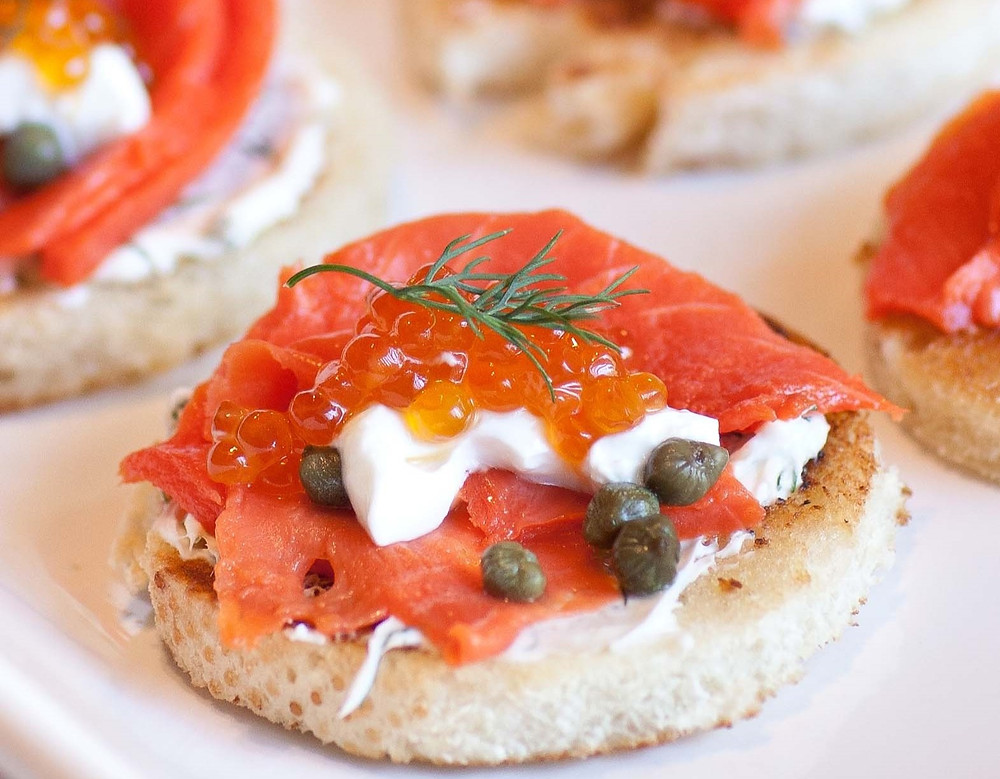 Smoked salmon canapes with capers