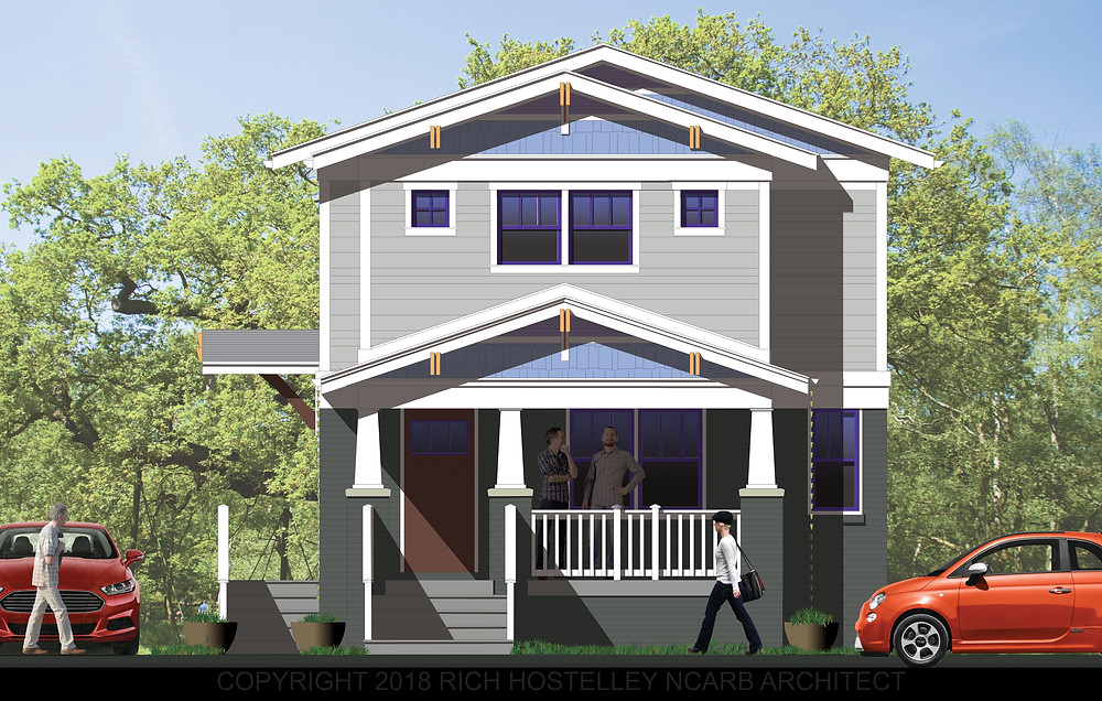 Proposed Colored Rendering of the Front Elevation for 5636