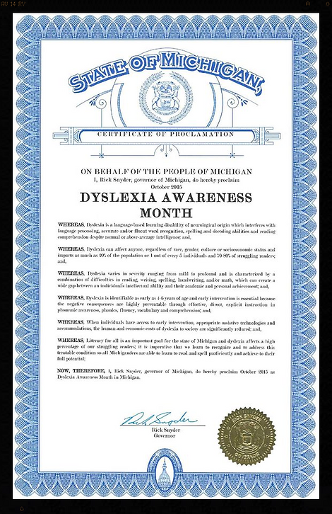 Michigan Dyslexia Awareness Month Certificate of Proclamation
