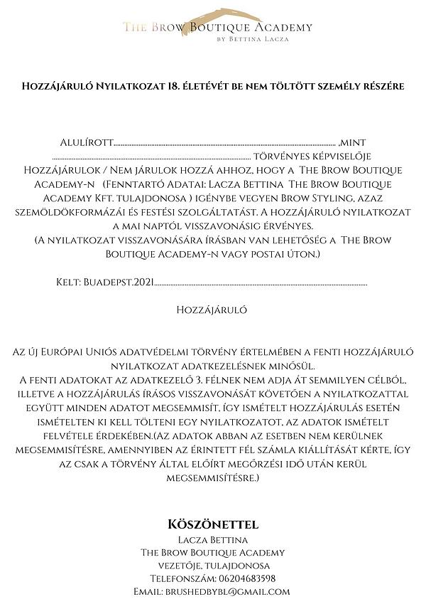 Hozzájáruló Nyilatkozat 18. életévét be