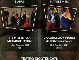 Sábados en concierto en el Teatro Xicohténcatl, Tlaxcala | 21 de agosto 2021 | Dúo Máynez Miró