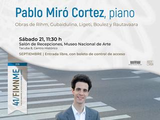 Recital de piano | 21/09/2019 | 41. Foro Internacional de Música Nueva Manuel Enríquez 2019