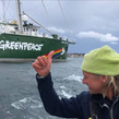 With Rainbow Warrior to fight fossil fuel.