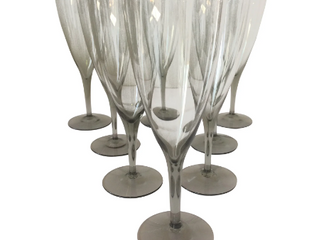 SMOKE GREY WINE GLASSES (8) $150