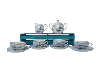 KUTANI TEA SET WITH LITHOPANE IN CUPS $65