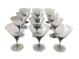 SMOKE GREY MARTINI GLASSES (12) $225