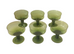 *** SOLD***GREEN HANDBLOWN DESSERT GLASSES (6) $135