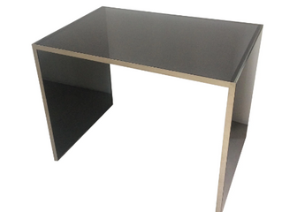 BLACK GLASS AND CHROME DESK $1,200
