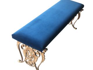 ART NOUVEAU BLUE VELVET BENCH $710.00
